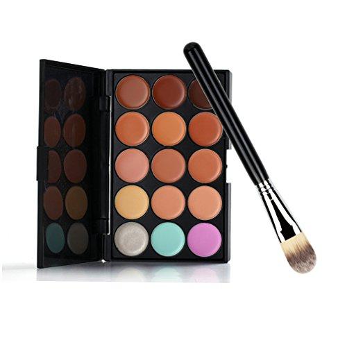 Gracelaza 1 Pcs Pinceaux Maquillage Trousse, 15 Couleurs Palette de Maquillage Correcteur Camouflage Cr¨¨me Cosm¨¦tique Set