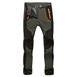 YiLianDa Pantaloni Funzionali Softshell Invernali da Uomo Slim Fit Impermeabili e Traspiranti per Trekking e Sport all…