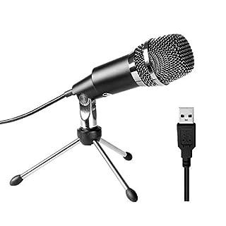 FIFINE USB Mikrofon Kondensator, PC Laptop Podcast Microfone mit Ständer, Computer Aufnahmemikrofon für Spiele und Aufnahmen Studio Microphone für Skype, Facebook, YouTube, etc.- K668