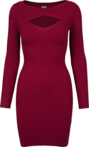 Urban Classics Damen Kleid Ladies Cut Out Dress, Rot (Burgundy 606), Medium (Dress Out Mini Cut)