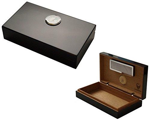 GERMANUS Mini Humidor schwarz mit Zedernholz inkl. GERMANUS Humidor Brevier