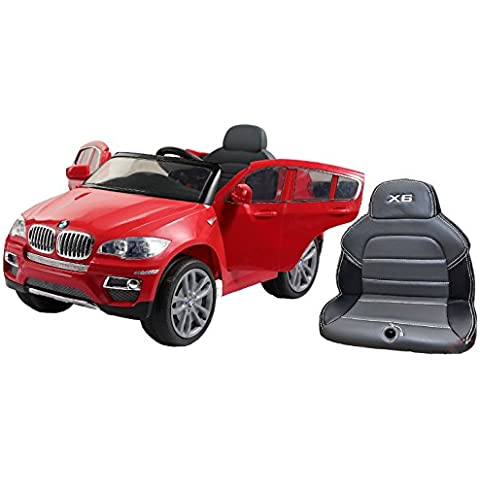 BMW X6 Red, Los niños del coche, los niños del coche eléctrico, coche niños, con asiento de cuero cosido, 2x motor, batería de 12 V, con mando a
