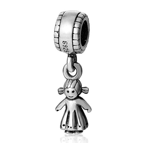 soulbead Happy Little Girl Charm 925 Sterling Silber Dangle Bead für Kinder - Silber Charm Baby Girl Sterling