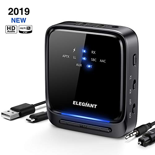 ELEGIANT Bluetooth Adapter Audio 5.0 Bluetooth Transmitter Empfänger 2 in 1 Sender Receiver aptX Low Latency HD mit Optischem Toslink/SPDIF für TV Laptop Stereoanlage Kopfhörer Lautsprecher