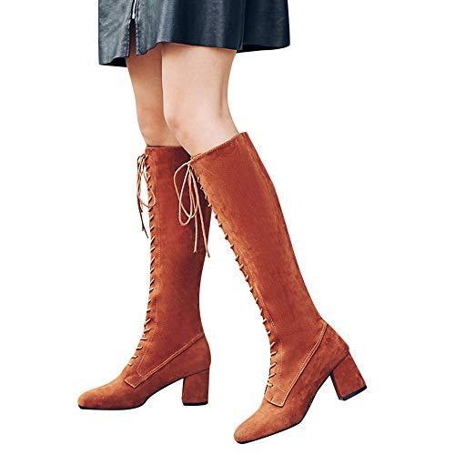 Geili Stiefel Damen Schnürstiefel Langschaft Stoff Stiefel High Boots mit Blockabsatz Frauen Modische Übergrößen Lange Boots Hoher Absatz Cowboystiefel Reiterstiefel 36-41 -