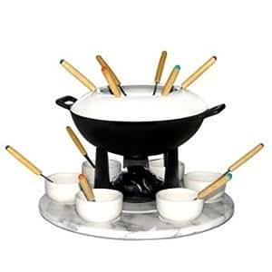 Baumalu 311514 service fondue fonte avec plateau marbre cuisine maison - Service a fondue savoyarde ...