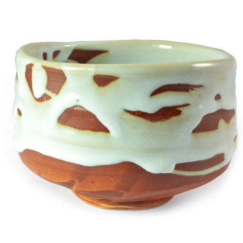Japanische Matcha Chawan Traditionelle Keramik Teeschale Mit Klobigen Weißen Und Roten Ziegeln Glasur
