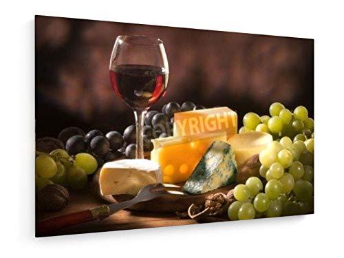 otwein mit verschiedenen Arten von Käse und Garnierung - 60x40 cm - Leinwandbild auf Keilrahmen - Wand-Bild - Kunst, Gemälde, Foto, Bild auf Leinwand - Kochen & Essen ()