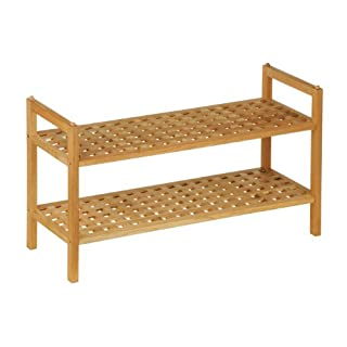 Premier Housewares 2-Tier Walnut Wood Shoe Rack, 40 x 70 x 27 cm
