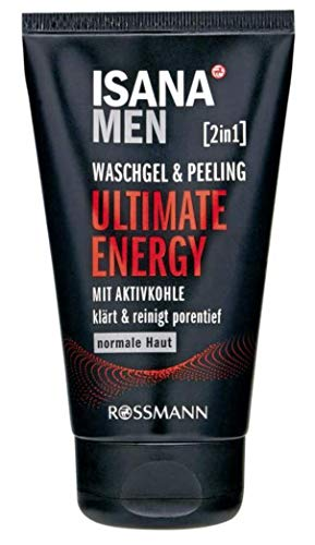 ISANA MEN 2in1 Waschgel & Peeling Ultimate Energy, für normale Haut, mit Aktivkohle, klärt & reinigt porentief, 150 ml - Ultimate Peeling