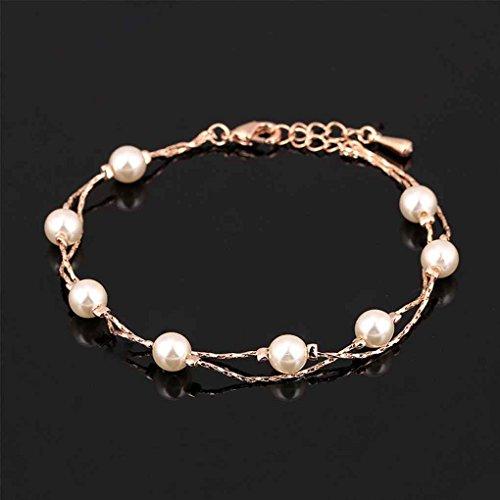 Bobury Simulierte Perle Frauen Mädchen Fußkettchen Knöchel Ketten Schmuck Rose Gold Überzogene Kupferlegierung Fuß Kette Jewerly