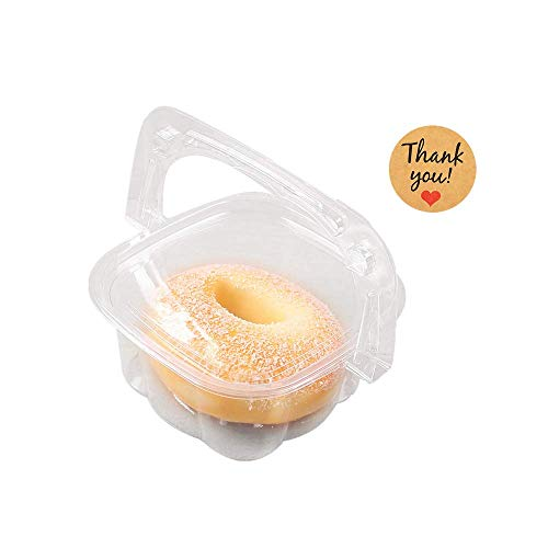 20er Pack Griff Box quadratisch 227 ml klar Lebensmittelbehälter mit Deckel / 20 Stück Dankesaufkleber Etikett für Obst Brot Kuchen Box oder Mitnehmen Paket - 11,4 x 9,5 x 5,1 cm