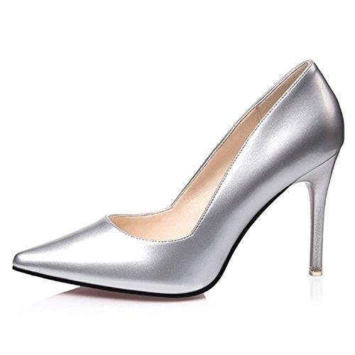 Oasap Femme Chaussure A Talons Hauts Club Soirée Verni off-white