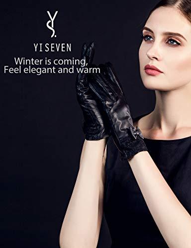 YISEVEN guanti in pelle di agnello con touchscreen per donna