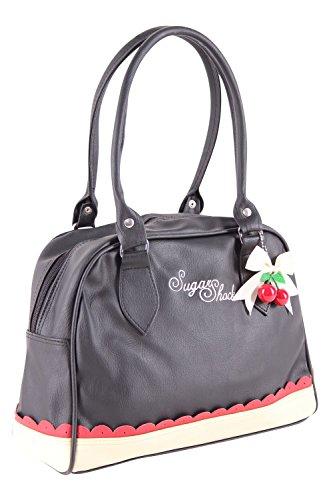 SugarShock Malynn Bowling Budapester Bag Handtasche, Farbe:schwarz cremé burgund