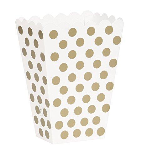 Unique Party 59297 Scatole Popcorn Sorpresa a Pois Dorati, Confezione da (Bridal Shower Regalo Regalo Di Nozze)