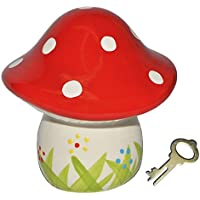 Preisvergleich für Sparschwein Pilz - Porzellan / Keramik mit Schlüssel - stabile Sparbüchse Spardose Kinder Figur groß Glückspilz