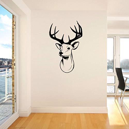 iefmarken Hirsch Hirsch Trophäe Geweih Steer Vinyl Wandkunst Aufkleber Zimmer Aufkleber Hirschkopf Wandbild Für Home Living Room Decor ()