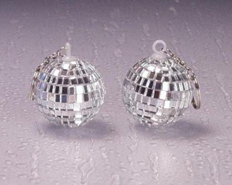 258203, 6 Stück Discokugeln 4 cm an Schlüsselanhänger und Kette