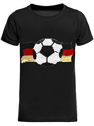 Deutschland Jungen Kinder Wende-Pailletten Fussball WM 2018 Fan T Shirt 22513, Farbe:Schwarz, Größe:164