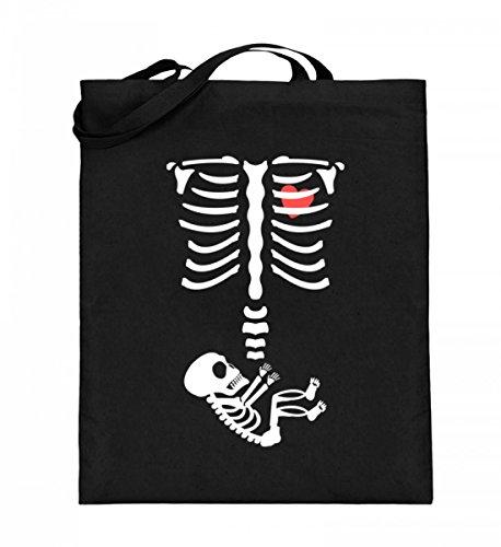 Hochwertiger Jutebeutel (mit langen Henkeln) - Schwangerschaft Halloween Baby - Schlichtes Und Witziges Design (Schwangere Halloween-t-shirts)