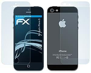 atFoliX FX-Clear Displayschutzfolie für Apple iPhone 5 (2er SET: 2 x Vorder- und 2 x dreiteilige Rückseite) Displayschutz Folie kristallklar! Höchste Qualität - Made in Germany!