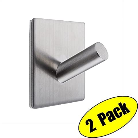 KES 3M Self Adhesive Hooks SUS 304 Stainless Steel Heavy Duty Small Coat Picture Hook Self Sitck On Wall Hook Sticky Brushed Finish 2 Pieces,