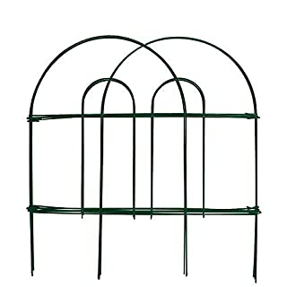 Decorative Garden Fence 46cm x 15m Rustproof Green Iron Landscape Wire Folding Fencing Ornamental Panel Border Edge Section Edging Patio Flower Bed Animal Barrier for Dog Outdoor Fences