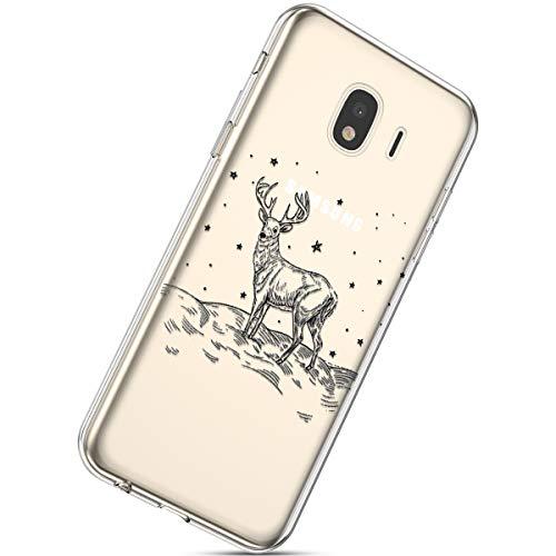 Handytasche Samsung Galaxy J4 2018 Weihnachten Hülle Clear Case Ultra Dünn Durchsichtige Silikon Kirstall Transparent Handy Hülle Bumper Cover Schutz Tasche Schale,Weihnachten Elch