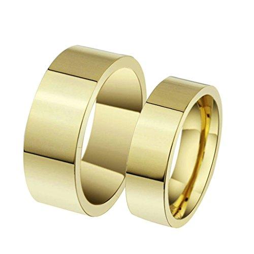 Aooaz Edesltahl Ring Unisex Gold Edle Breite 4MM Damen Ring Gothik Verlobung Größe 57 (18.1) (Männer Gold Iced Out Uhr)