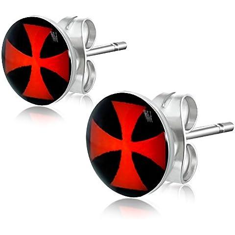 7 millimetri Acciaio Nero / Rosso Maltese Cross Cerchio Orecchini E372