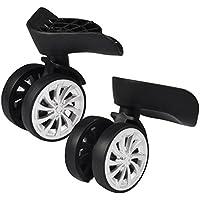 Rueda Giratoria (goma, equipaje maleta ruedas pivotantes reemplazo 55mm ruedas para carrito–Maleta Negro, Pack de 2