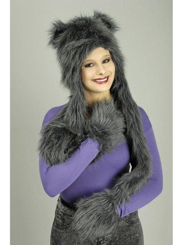 mport GmbH Katzen-Mütze aus Plüsch mit Ohren grau Einheitsgröße ()