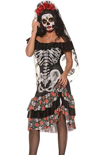 Damen Königin der Toten Skelett/Knochengerüst Halloween Kostüm Kleid und Stirnband/Verhüllung Größe (Der Halloween Kostüme Königin)