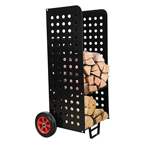 XXL Carretilla para la chimenea hierro Transporte de madera Tubo de acero