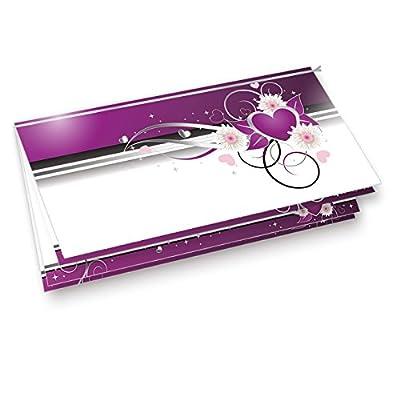 Einladung Geburtstag Herzen (10 Sets) 10 Einladungskarten Set + 10 Briefumschläge lila weiß