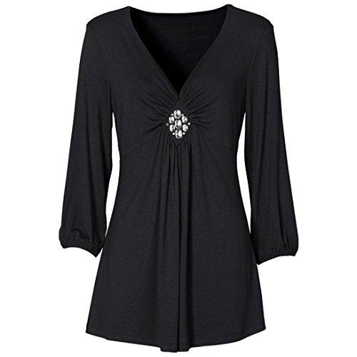 Femmes Casual Basic Plissée Solide Plissé Col en V Top Diamond T-Shirt Blouse Noir