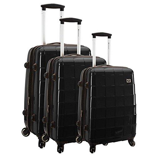 Lot de 3 Valises Snowball Vienne - 100% Polycarbonate - Serrure TSA à combinaison intégrée - poignée télescopique - roulettes 360° - NOIR