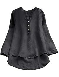 b1c8c0c7dca3d Femmes Fille Chemisier T-Shirt à Manches Longues Rétro Coton et Lin Pas Cher  Chic Blouse