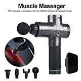 Bozaap Handheld Eletronic Massage Gun 4 Massage Heads Deep Tissue Muscle Massager Gun with 3-Speed Adjustment Massager Gun Carbon Fiber