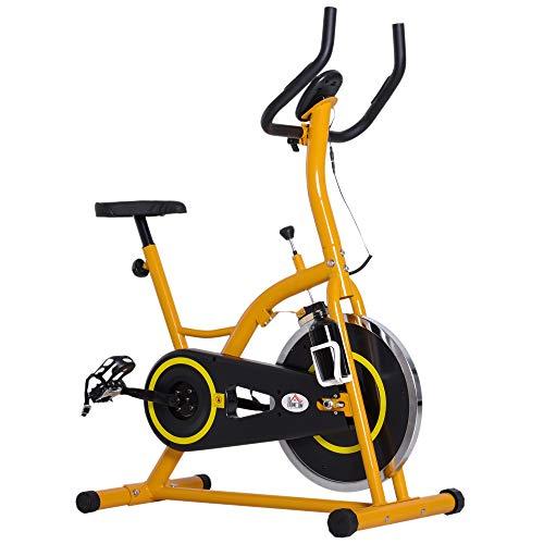 HOMCOM Bicicleta Estatica Bici Fitness Spinning MAX 120 Kg Pantalla LED Acero Aluminio