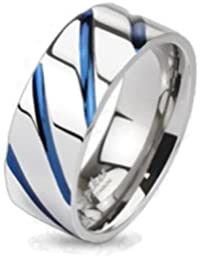 Paula & Fritz® Titanium Ring Silver with Blue Stripes - Available Ring Sizes I - Z R-TI-4381