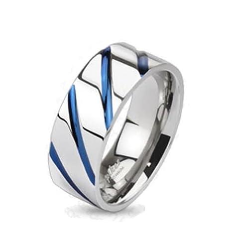 Paula & FRITZ® Titane Bague en Argent Bleu Blue Stripe