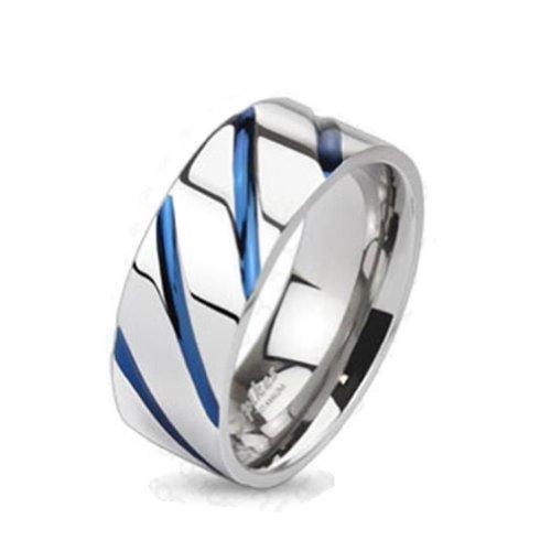 Paula & Fritz® Titan Ring Silber blau Blue Stripe 47 (15) R-TI-4381-5 [Schmuck]