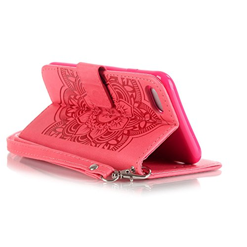 KM-WEN® Schutzhülle für Apple iPhone 7 (4,7 Zoll) Bookstyle Campanula Muster Prägung Ledertasche mit Strap Magnetverschluss PU Leder Wallet Case Flip Cover Hülle Tasche Schutzhülle mit Standfunktion K Campanula Rose