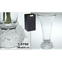 DonRegaloWeb - Jarrón de cristal de Bohemia con forma de trompeta y pie decorado con flores en cristal ácido