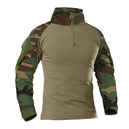 KEFITEVD Herren Combat Shirt Flecktarn US Army Shirt Military Uniform Multicam T-Shirt Bundeswehr Langarmshirt Stehkragen Kampfhemd Outdoor Hemd Männer Dschungel M (Etikett: XL) (Uniform Army Combat Hemd)