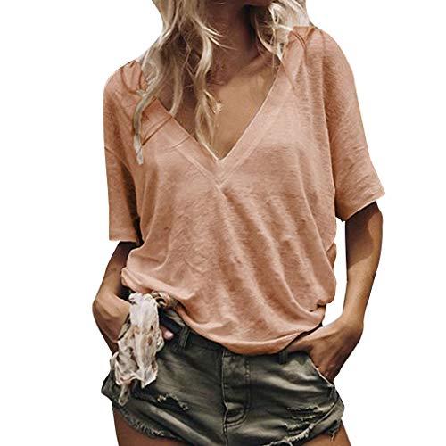Aiserkly Frauen lösen beiläufige Reine Farben-V Ansatz-Kurzschluss-Hülsen-Hemd-Sommer-T-Shirts Orange L