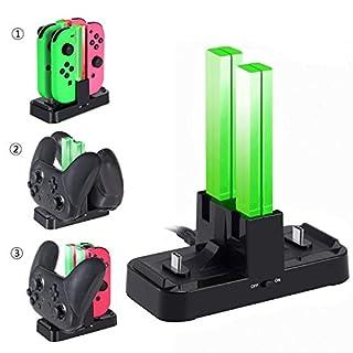 Teepao Ladestation für Nintendo Schalter Joy Con, 6 in 1 Dual Controller Ladegerät Ladestation Stand Station für Nintendo Switch Pro Controller mit LED-Anzeigen