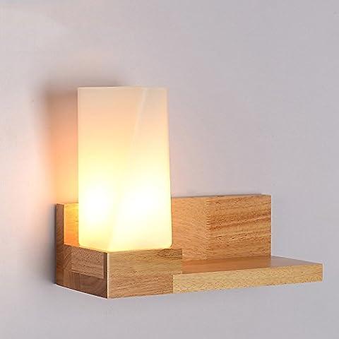 LZDHY LZD-007 Neue moderne hölzerne Wand-Lampe E27 Schlag-Glas-Lampe kann Sachen setzen, die auf Balkon-Gang-Aufenthaltsraum Esszimmer-Schlafzimmer 30 * 13 * 23CM anwendbar sind ( Color : Left )